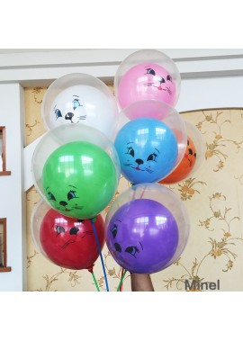 100pcs 12 Inch Thickened Ball In The Ball Double Ball Balloon Cartoon Pattern Children's Toy