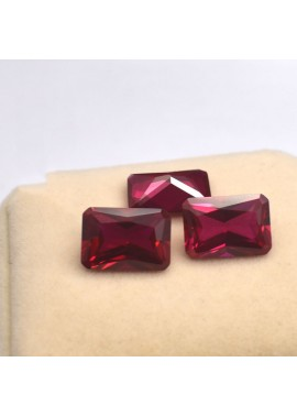 10pcs Octagonal rectangular ruby ring-faced bare stone