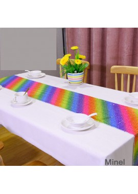Rainbow Sequin Table Flag 30*275CM