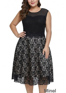 Lace Splicing Sleeveless Casual Plus Size A Line Dress T901553765738