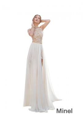 Minel Beach Long Wedding Evening Dresses