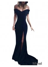 Black V Neck Mermaid Long Prom Evening Dress