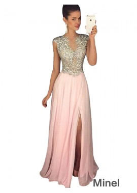 Minel Pink Long Evening Dress