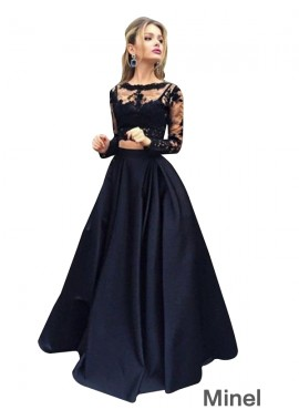 Minel Lace Black Long Prom Evening Dress