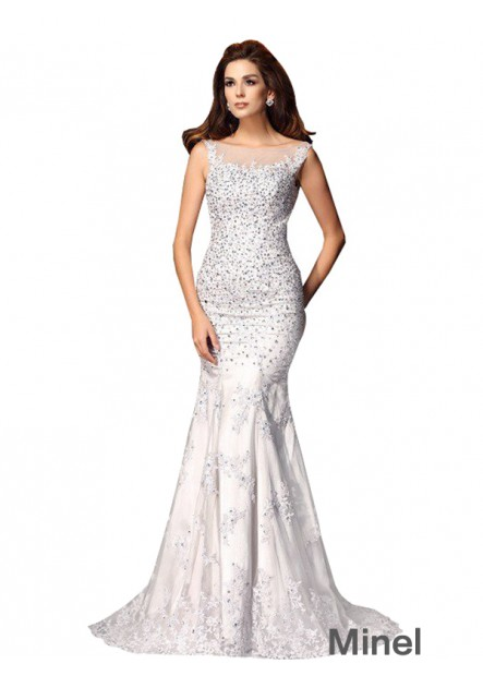 Minel Sexy Full Beading Evening Mermaid Prom Evening Dress