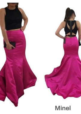 Minel Two Piece Long Mermaid Long Prom Evening Dress