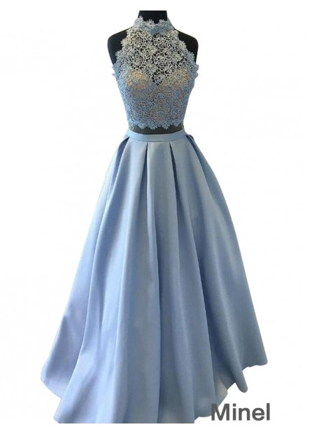 Minel Two Piece Long Prom Evening Dress