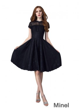 Minel Sexy Black Short Prom Gown