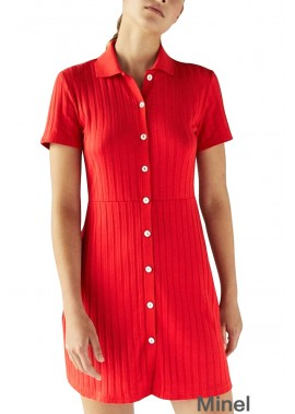 Lapel Button Up Short Sleeve Ribbed Casual Plus Size Sweater Dress T901554370099
