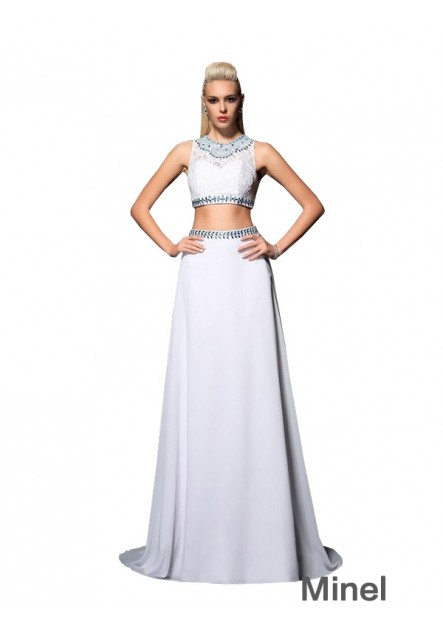 Minel Two Piece Long Prom Dress