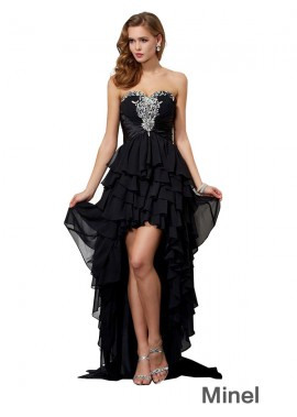Minel High Low Long Prom Evening Dress